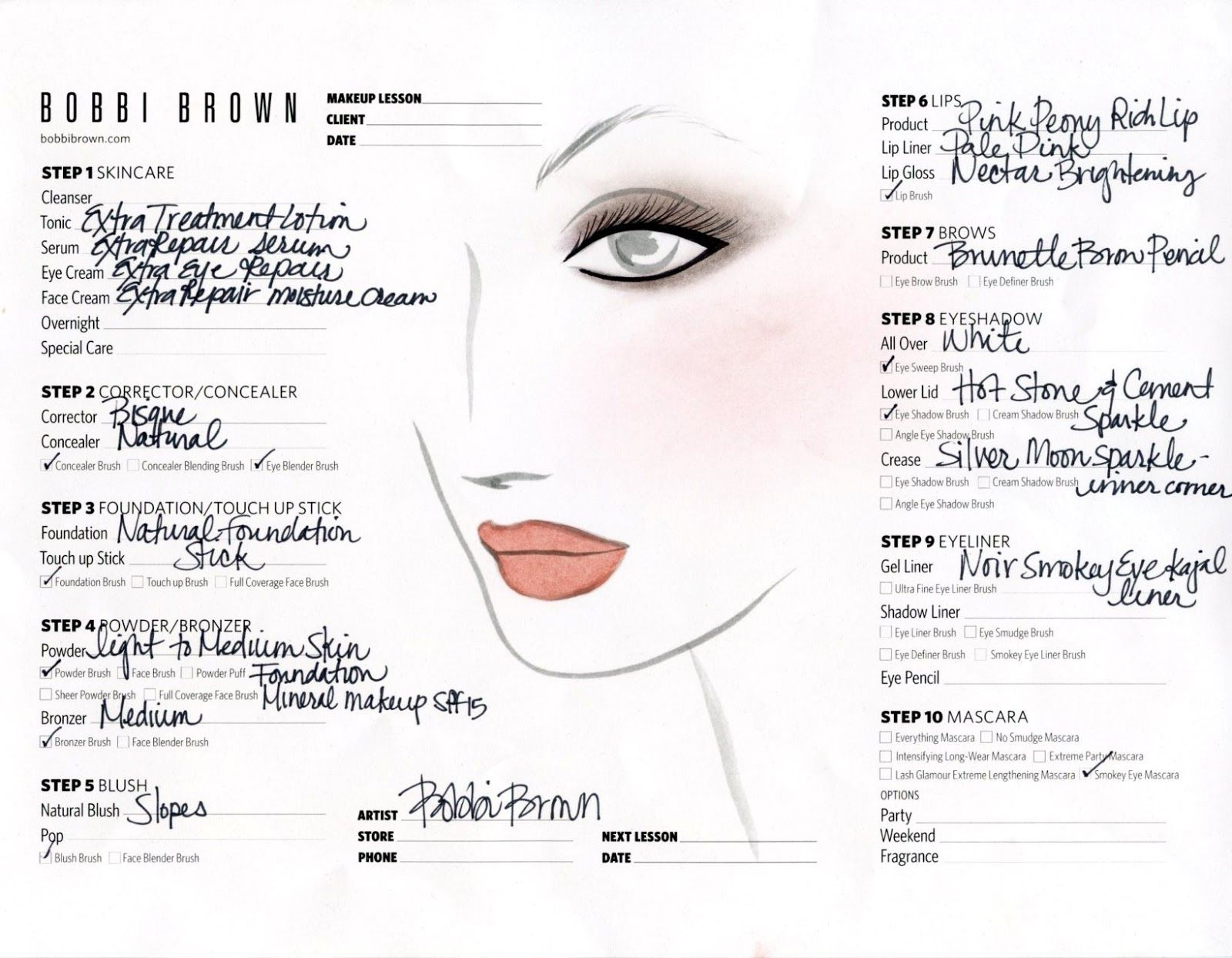 Face Charts For Some Makeup From Bobbi Brown in