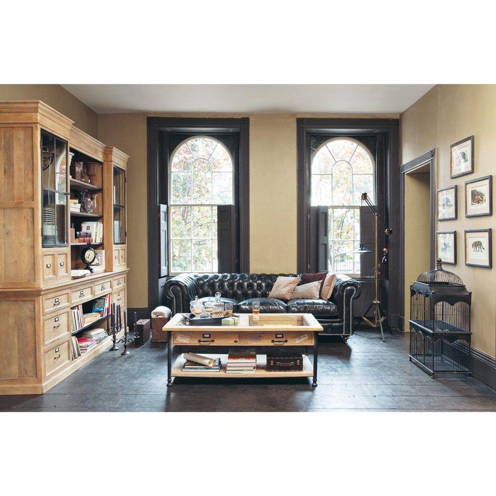 canap capitonn vintage 4 places en cuir marron maisons du monde canap s pinterest. Black Bedroom Furniture Sets. Home Design Ideas