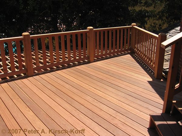 New craftsman wood two story deck top deck view los for Best wood for deck