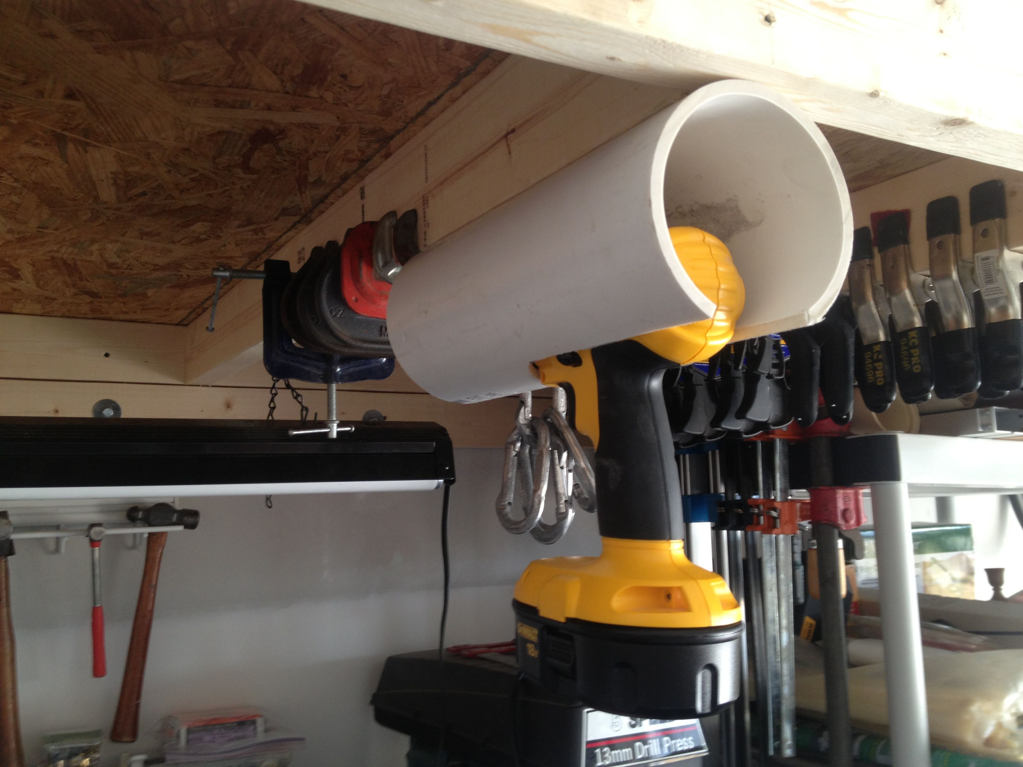 Diy drill holder made from quot pvc wood stuff pinterest