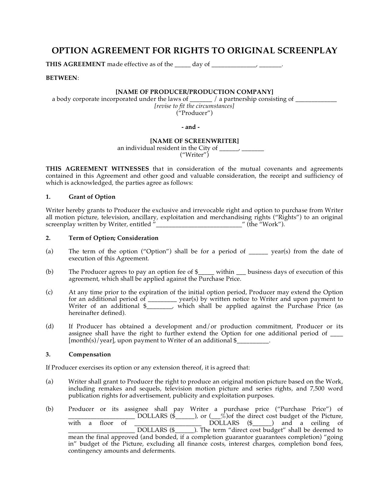 Option Agreement For Rights To Original Screenplay HttpWww