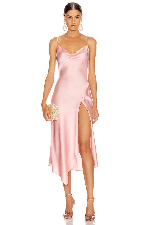 pink satin slip asymmetrical cocktail dress, xxs / pink