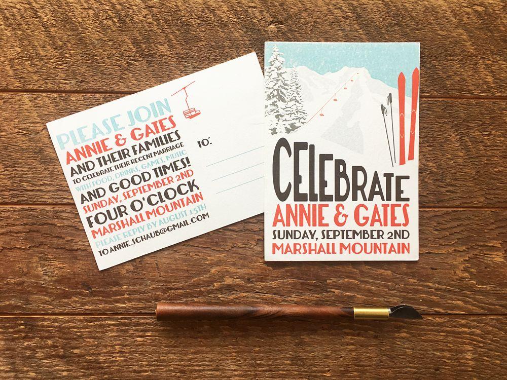 Ski Theme Wedding Invitation, Skis and Mountains Wedding Invites ...
