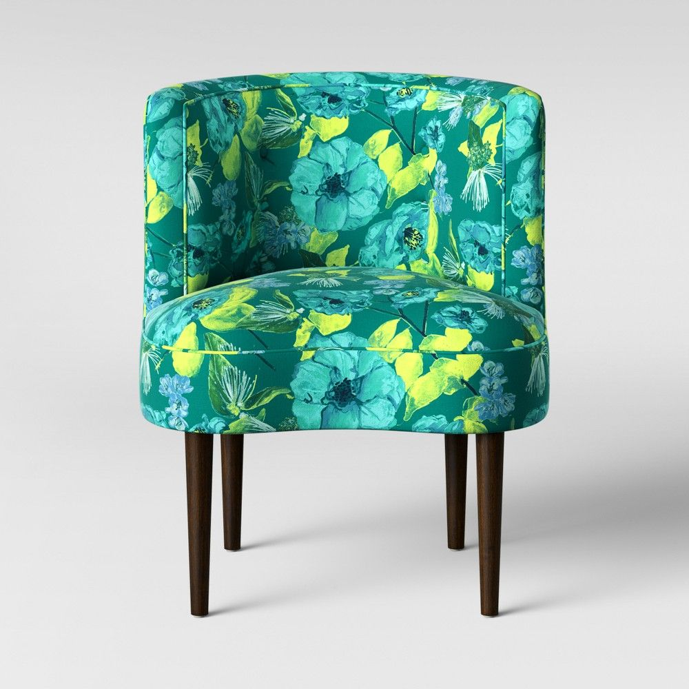 Awe Inspiring Clary Curved Back Accent Chair Green Teal Floral Opalhouse Gmtry Best Dining Table And Chair Ideas Images Gmtryco