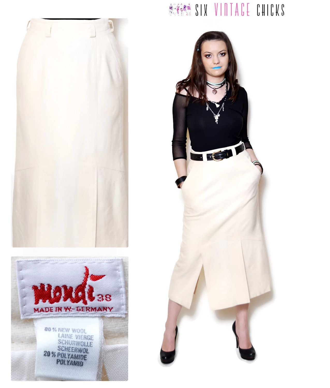 5b2ca6e710 midi skirt vintage wool skirt high waisted skirt beige women clothing 80s  clothing bohemian button down cut outs Boho Medium by SixVintageChicks on  Etsy