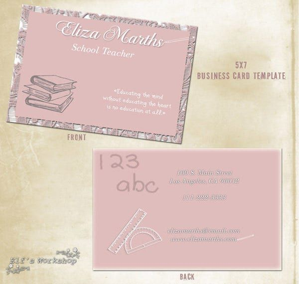 56 teachers business cards  ai ms word publisher