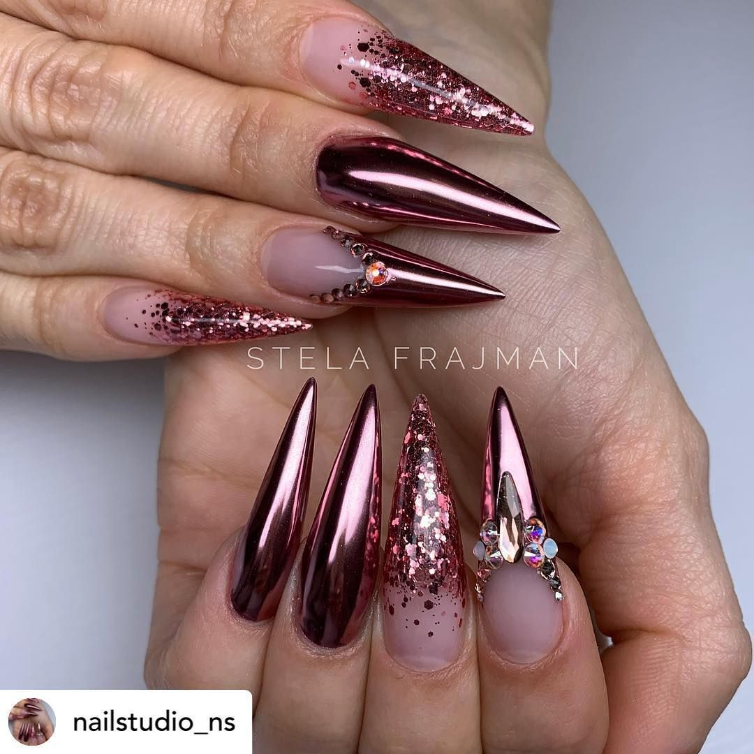 Riya S Nail Salon On Instagram Beautiful Set By The Talent Nailstudio Ns She Using In 2020 Luxury Nails Stilleto Nails Designs Swag Nails
