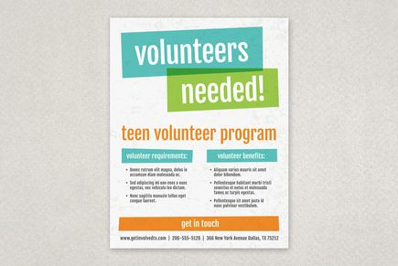Bright Bold Volunteer Flyer Template Flyer Design Templates