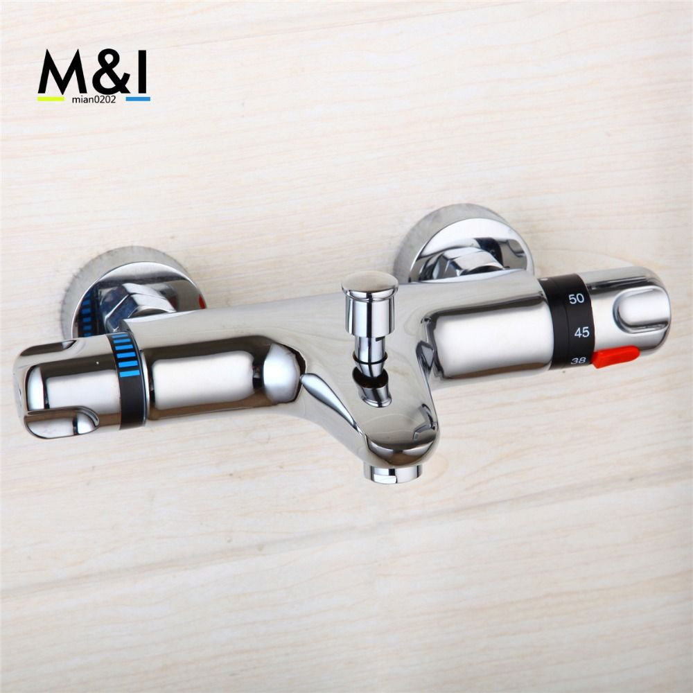 Thermostatic Shower Faucet Wall Mounted Double Handles Faucet Spout ...