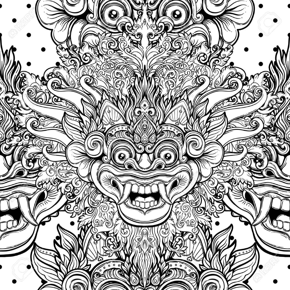 barong traditional ritual balinese mask vector decorative ornate in 2020 ornate tattoo balinese barong pinterest