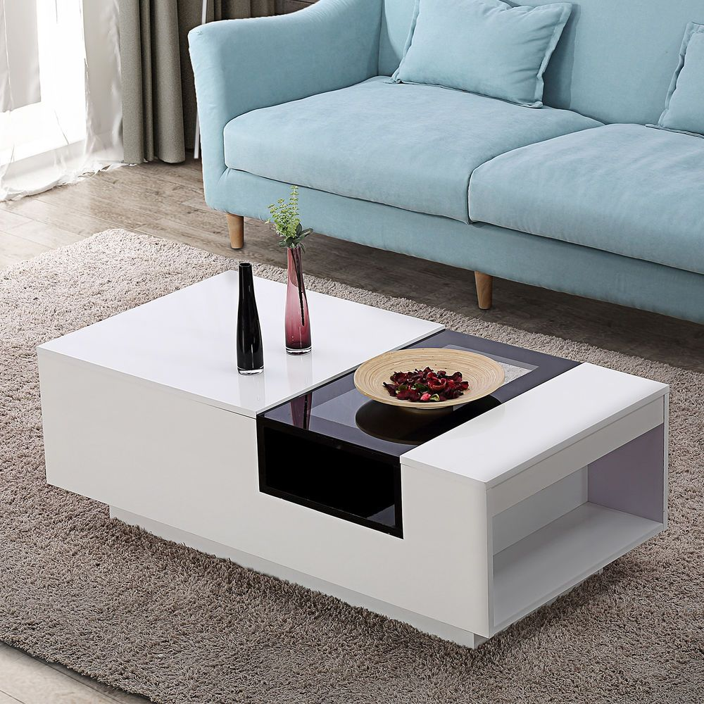 Two Tone Wood Glass Coffee Table End Table W Side Storage Living Storage Furniture Living Room Stylish Living Room Furniture Dining Room Furniture Collections #side #cabinet #living #room