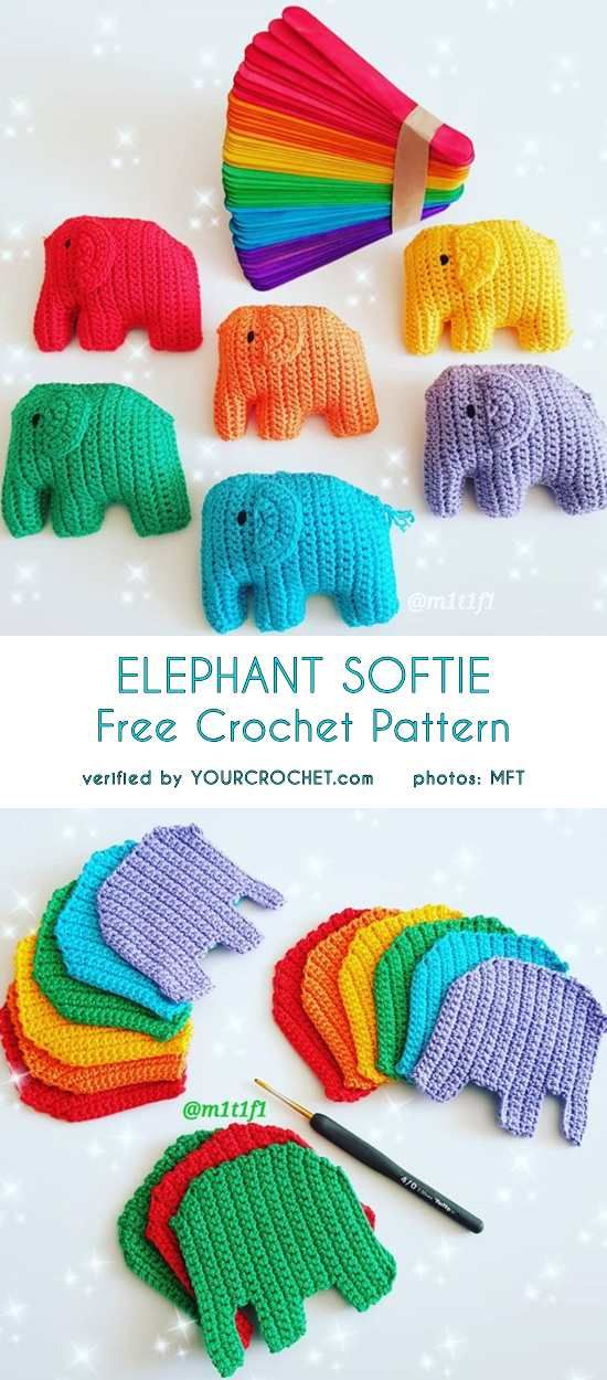 Baby Elephant Softie - Free Crochet Pattern #craft