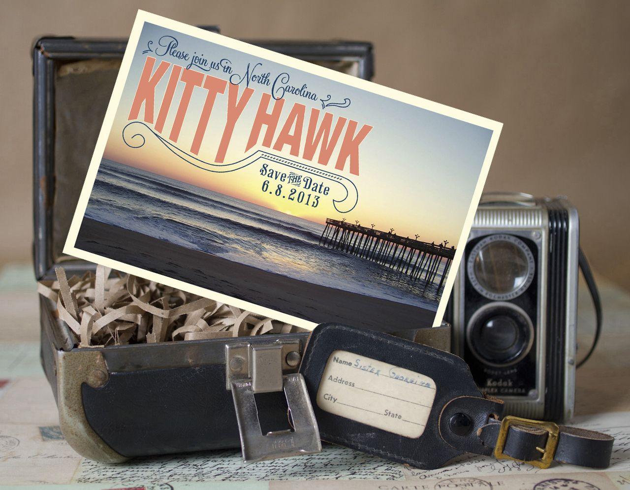Outer Banks Vintage Postcard Save the Date Design Fee