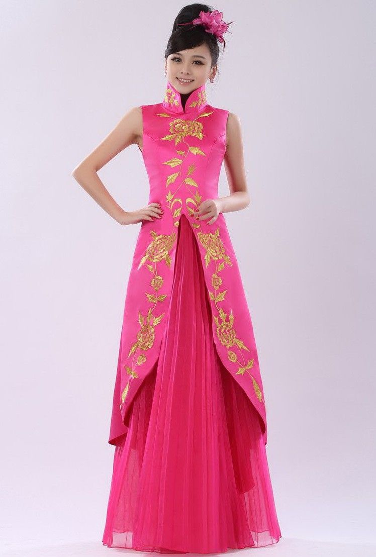 f4fe8c9c4a Pink Taffeta Gold Embroidery Mandarin Collar Chinese Style Prom Dress -  iDreamMart.com