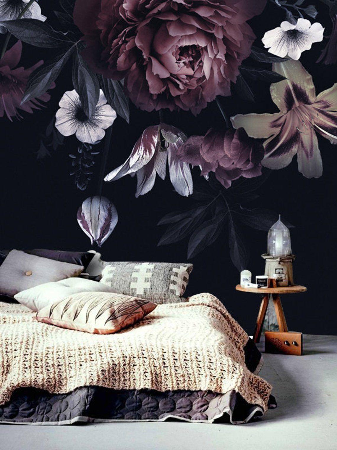 Dark vintage floral wallpaper, Big purple peony wallpaper