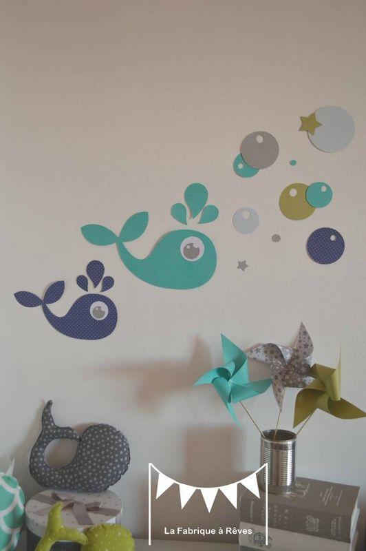 stickers baleine vert anis bleu turquoise marine bleu ciel gris