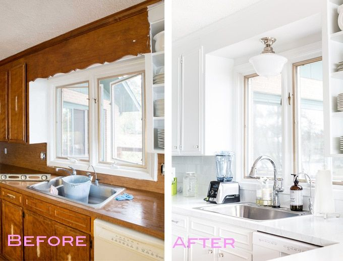 Remove decorative wood over kitchen sink and install pendant fixture before and after kitchen where the dated scalloped wood valance over the kitchen sink was removed solutioingenieria Images