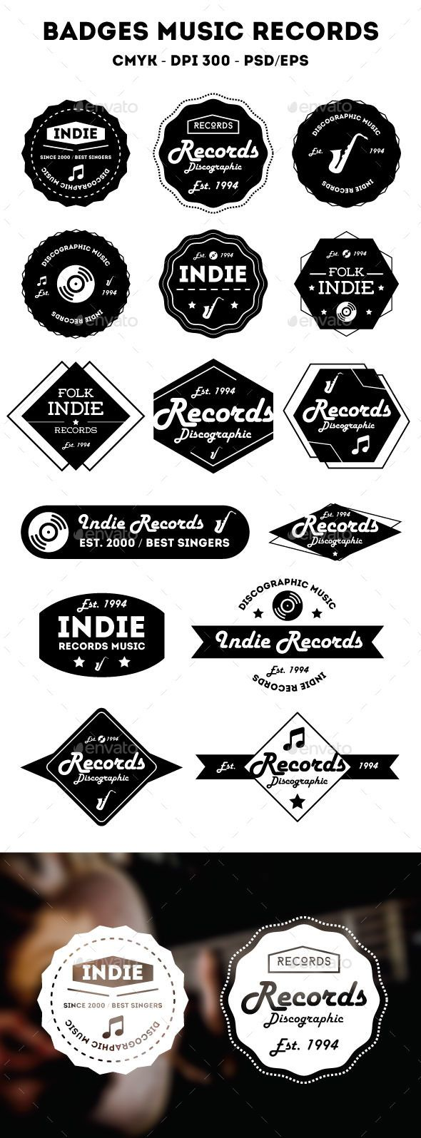 Music Badges | Pinterest | Badges, Psd templates and Template