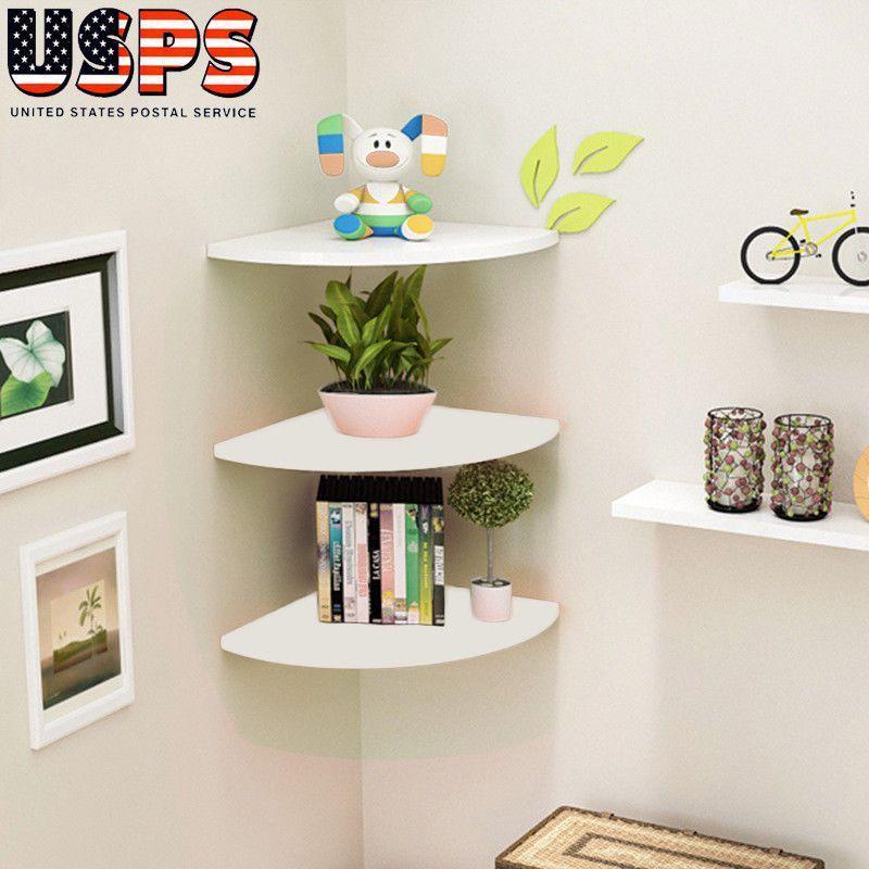 Corner Shelf Floating Wall Shelves Mounted Storage Rack Display Home Decor