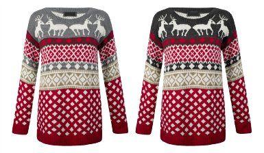 Ladies Women XMAS Design Novelty Ferisle Reindeer /& Snow all Over Jumper Sweater