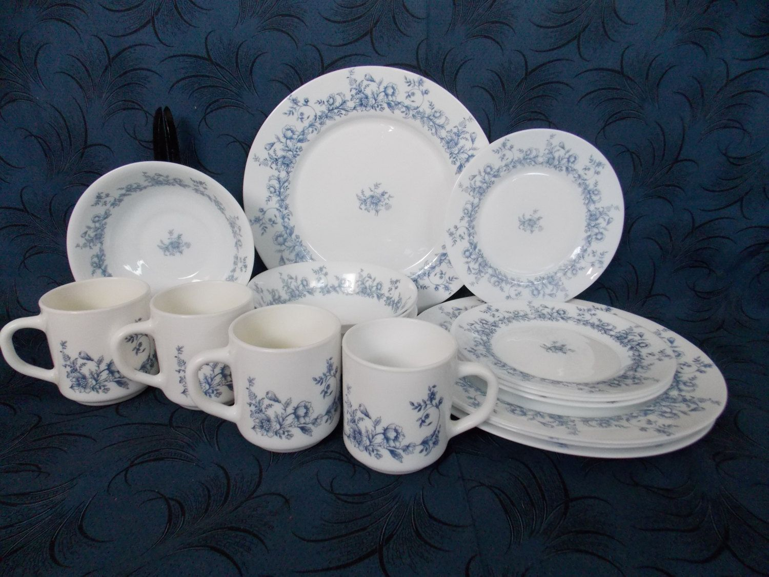 16 Piece Dinnerware Set Vintage Arcopal France Glenwood White Milk Glass with Blue Floral Pattern : arcopal dinnerware patterns - pezcame.com