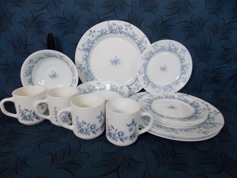 16 Piece Dinnerware Set Vintage Arcopal France Glenwood White Milk Glass with Blue Floral Pattern & 16 Piece Dinnerware Set Vintage Arcopal France Glenwood White Milk ...