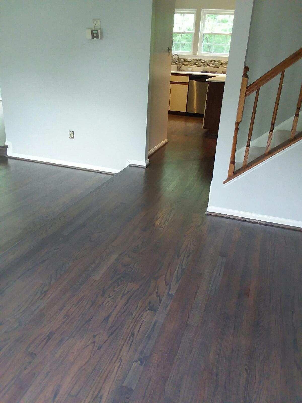 Minwax 50 Ebony and 50 Classic Gray hardwood floors with