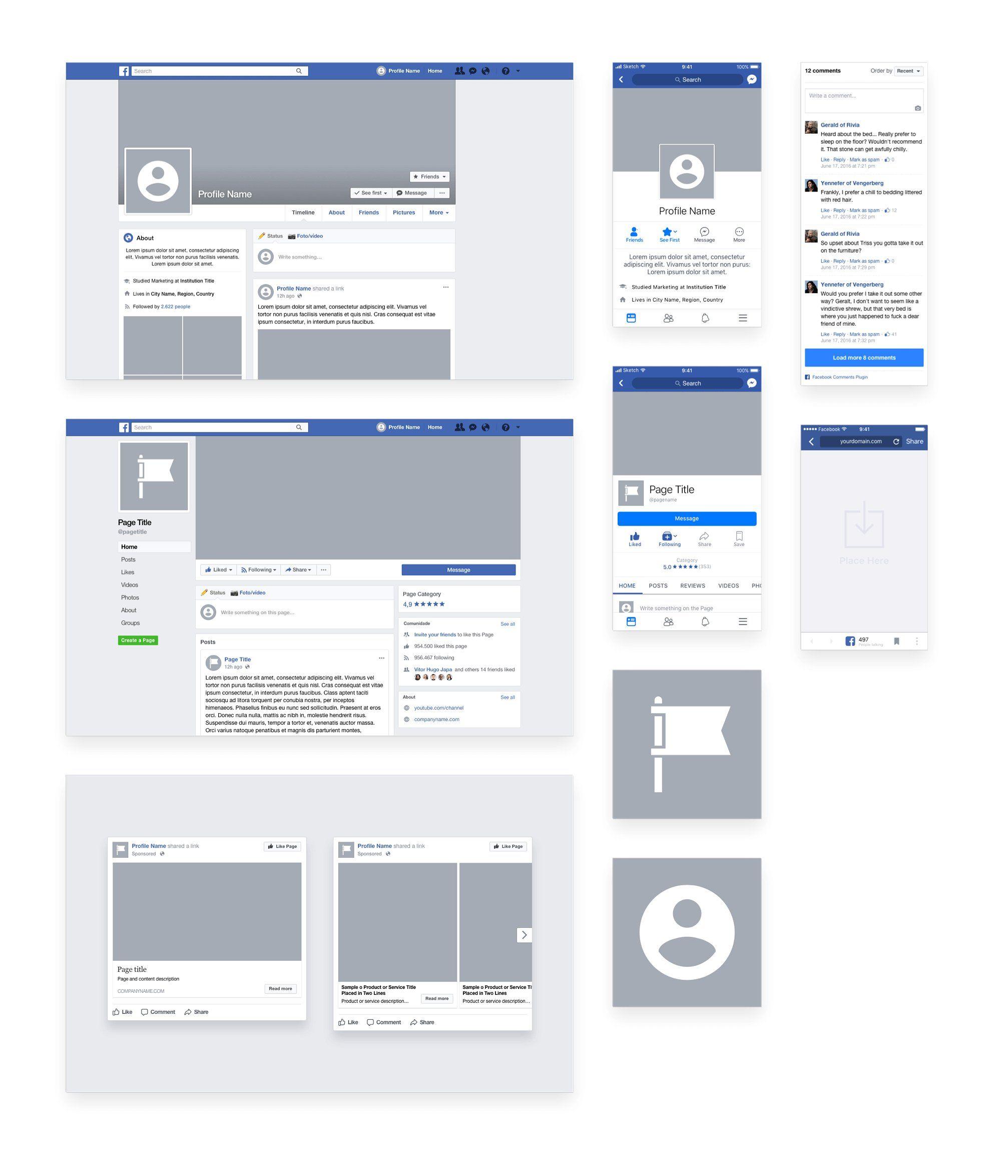 Facebook Sketch Template Profile Desktop Mobile Template