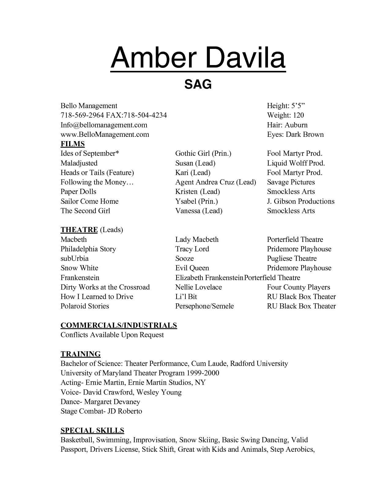 Technical Theatre Resume Template. Name Address Phone Number ...