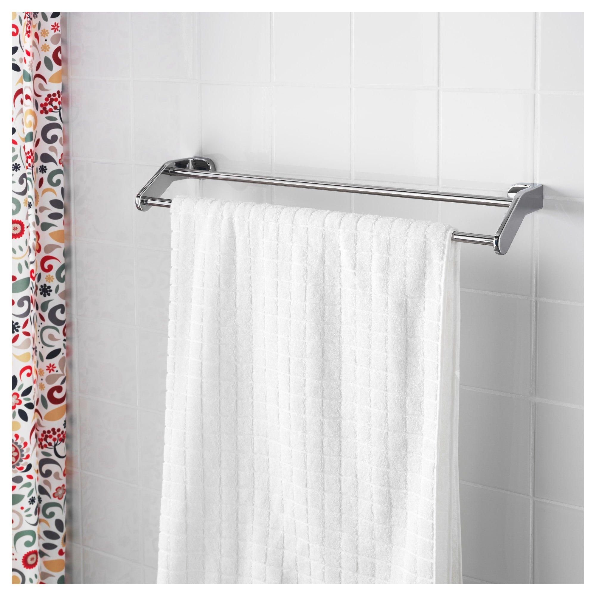 KALKGRUND Wall shelf with towel rail,Chrome-plated 63x23 cm-IKEA-Brand New