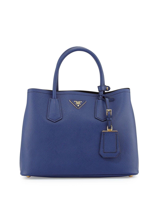 31dfd145a0e747 Prada Saffiano Cuir Small Double Bag Blue #womensbags | Prada bags ...