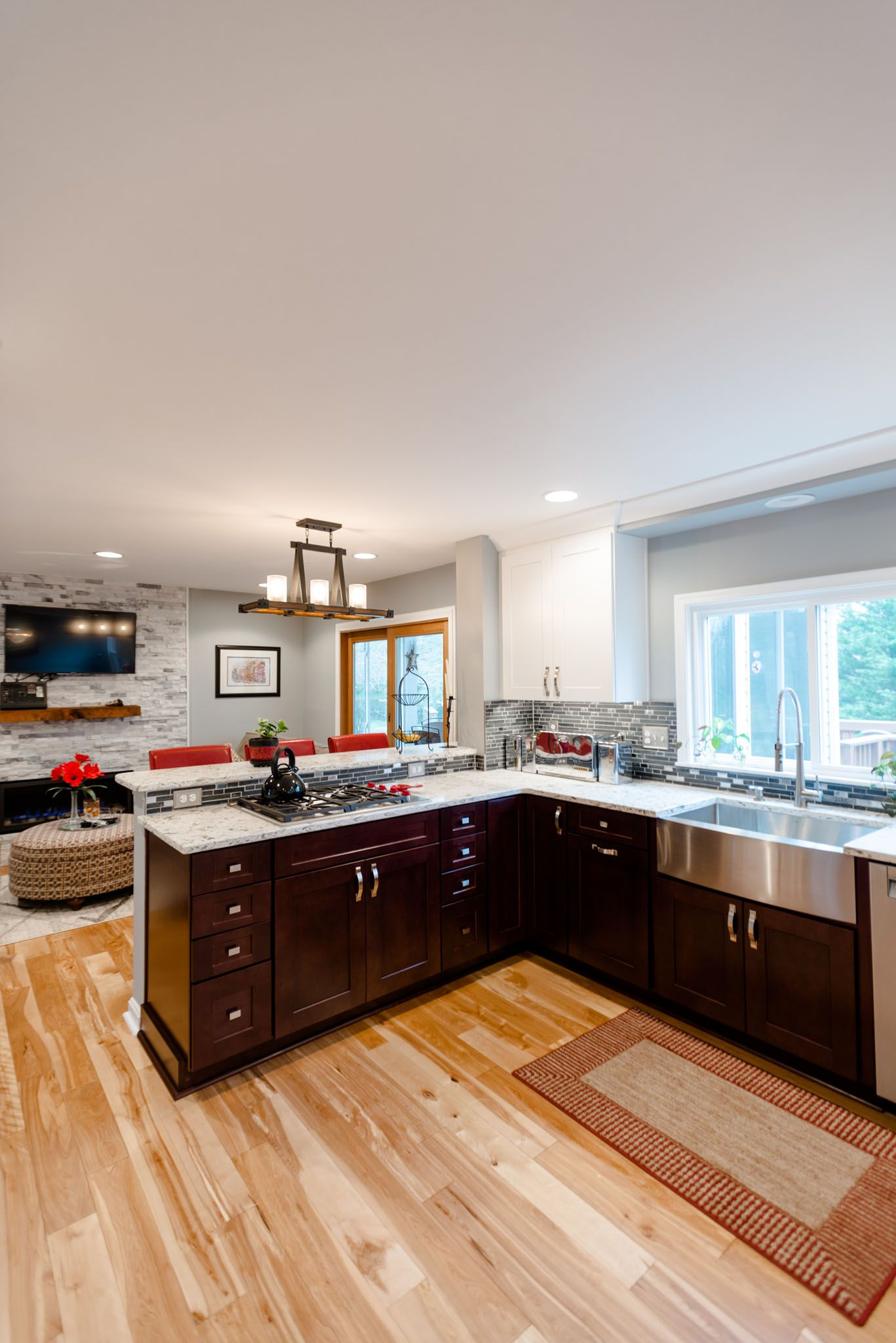 This contemporary kitchen remodel creates a beautiful open layout  connecting the kitchen, dining, and living areas. With White Linen and  Cherry Bordeaux ...
