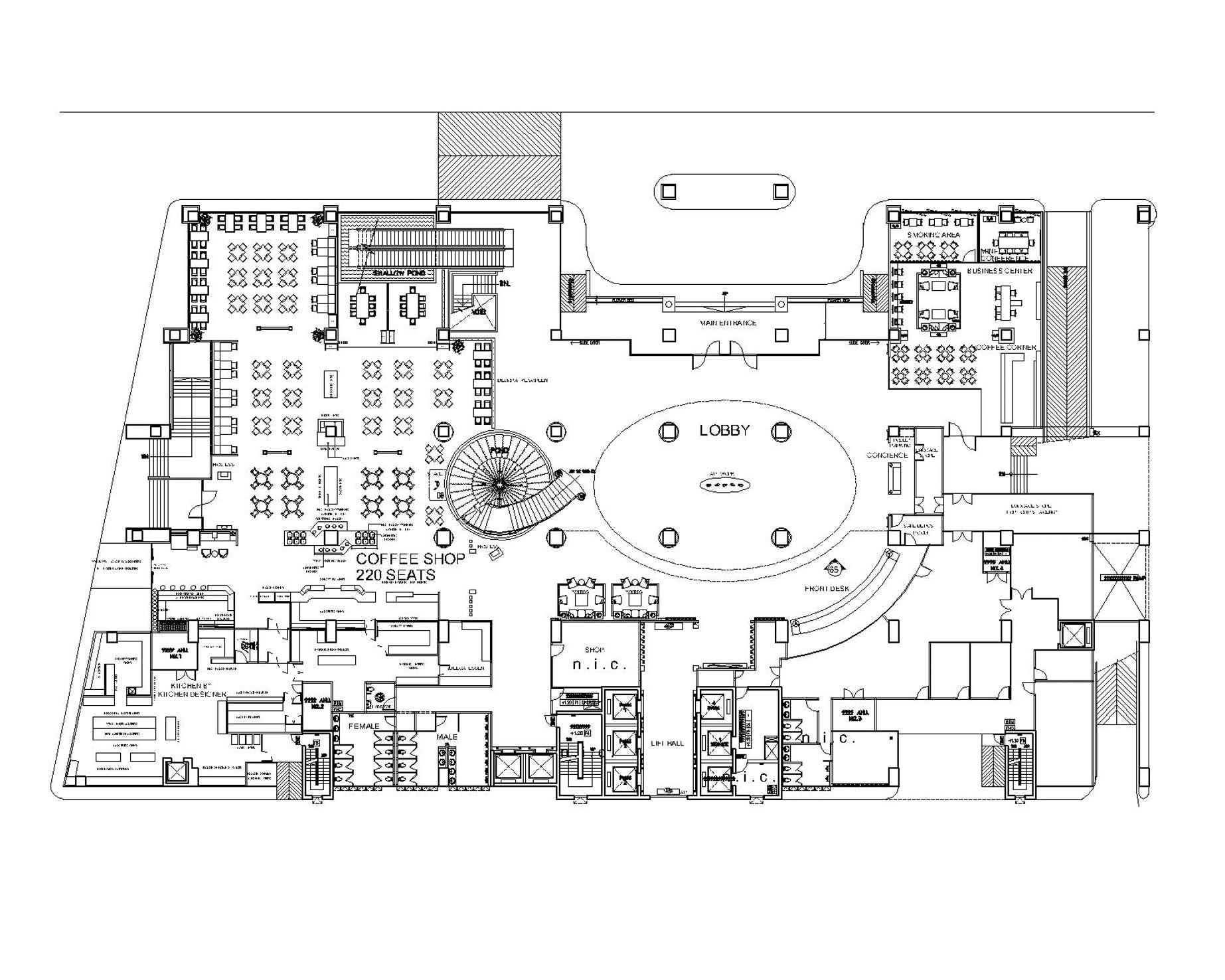 Creative Office Floor Plans: Grand Four Wings Convention Hotel