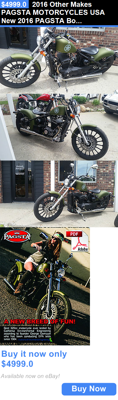 motorcycles And scooters: 2016 Other Makes Pagsta Motorcycles Usa New 2016 Pagsta Bobber Motorcycle Twin Army Flat Green Made Usa Ez Payment BUY IT NOW ONLY: $4999.0