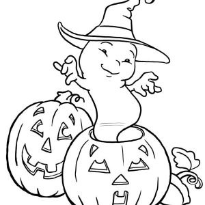 Halloween Day White Ghost Dancing On Coloring Page