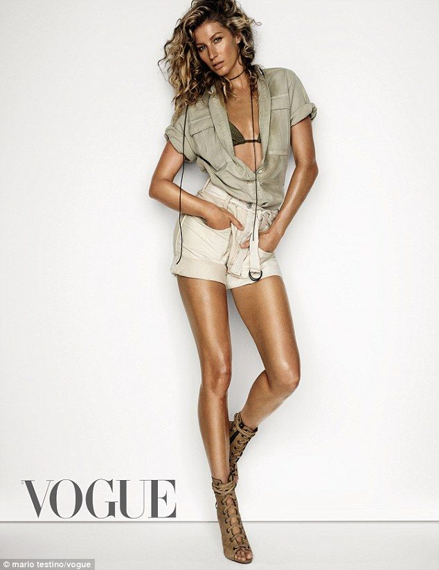 Gisele Bündchen shows off lean physique in khaki shirt in VOGUE #dailymail