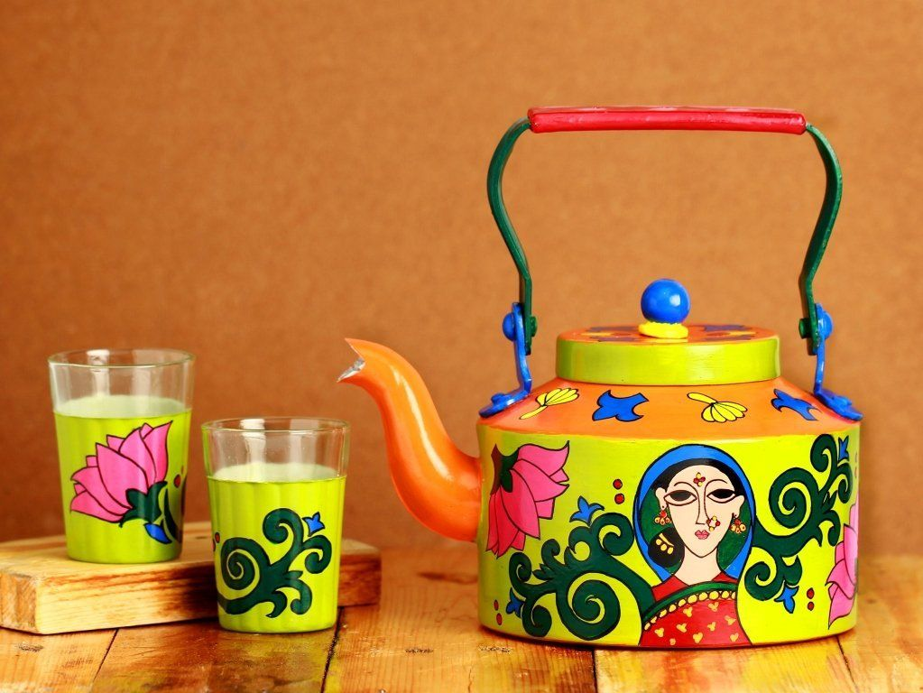 A Krazy Mug: Hand painted Kettle with set of two glasses