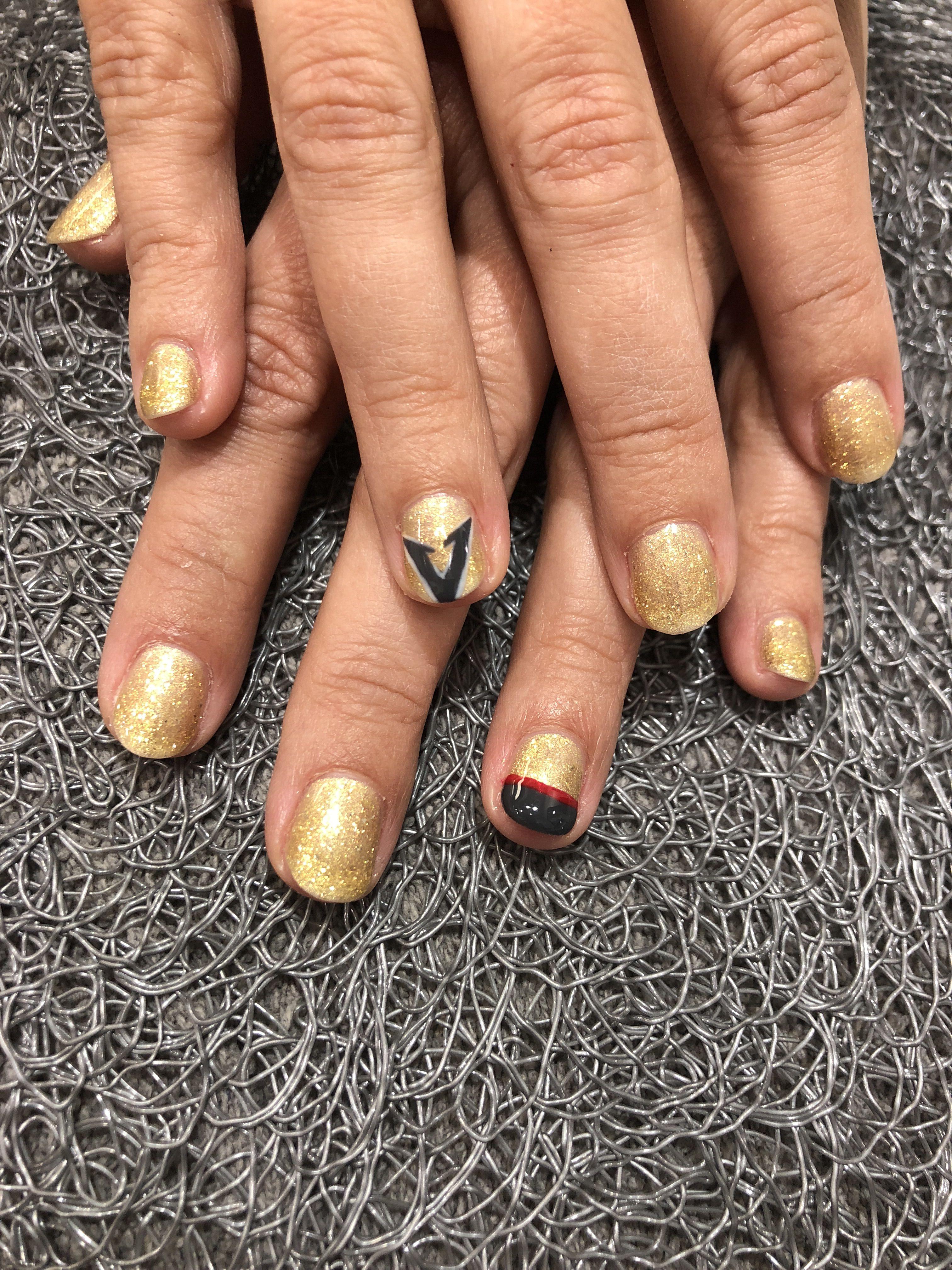 Gel manicure Las Vegas Golden Knights nail art | nail art | Pinterest
