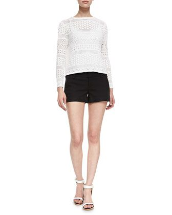 Dorie Cropped See-Through Knit Sweater & Cady Cuffed Shorts by Alice + Olivia at Neiman Marcus.