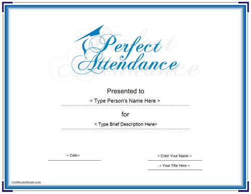 Education Certificate - Perfect Attendance Award Certificate ...