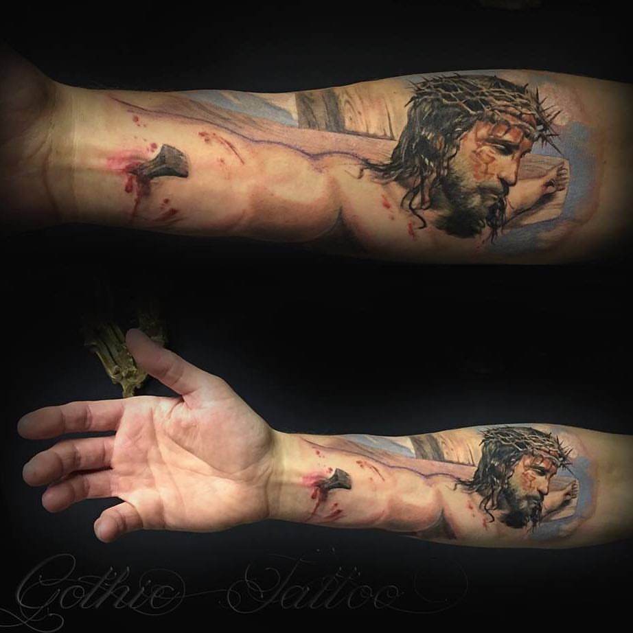 c8c5e4cb7 Pin by Jason Clem on Sleeve | Gothic tattoo, Jesus tattoo, Christ tattoo