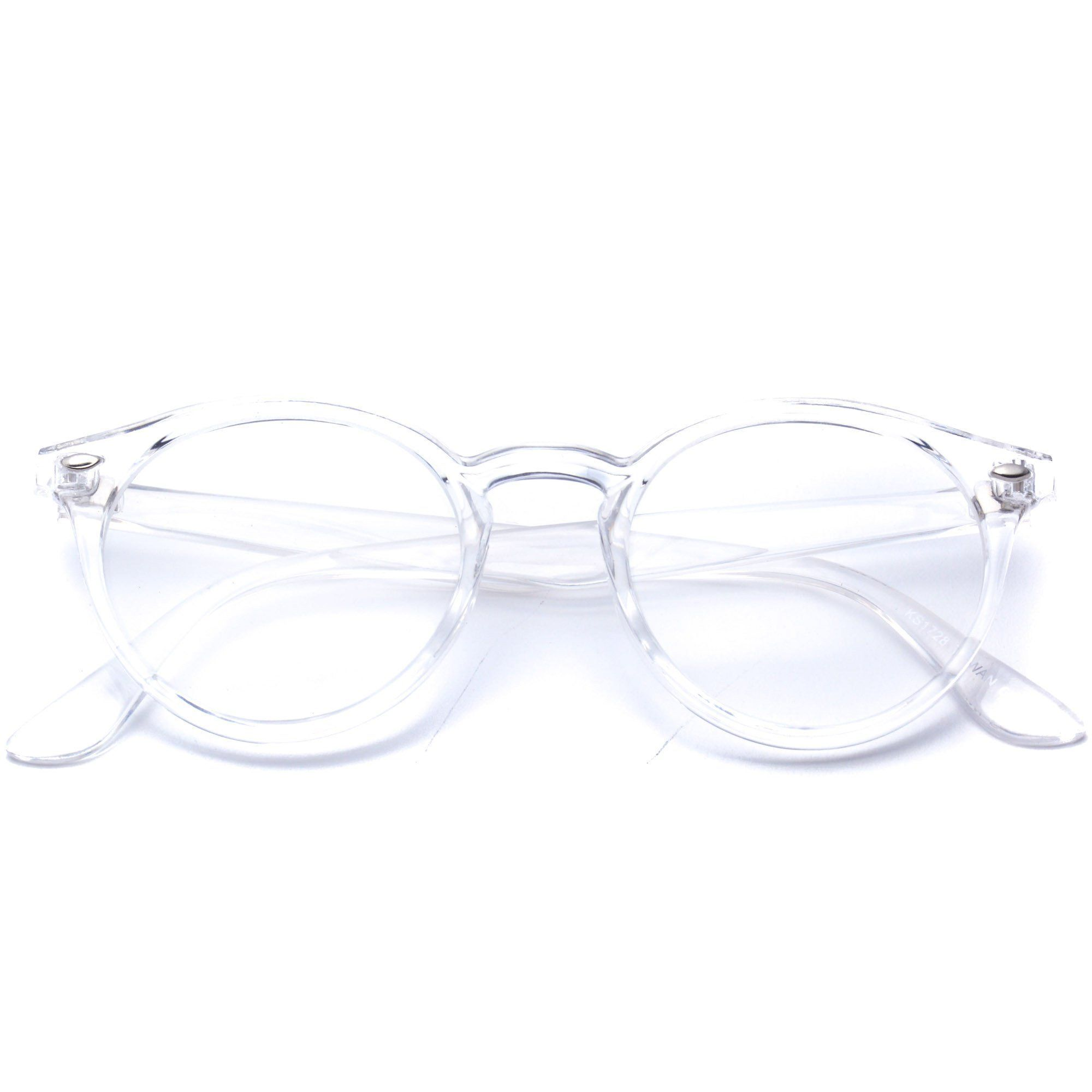 Clear glasses with clear transparent frame, round glasses, circle ...