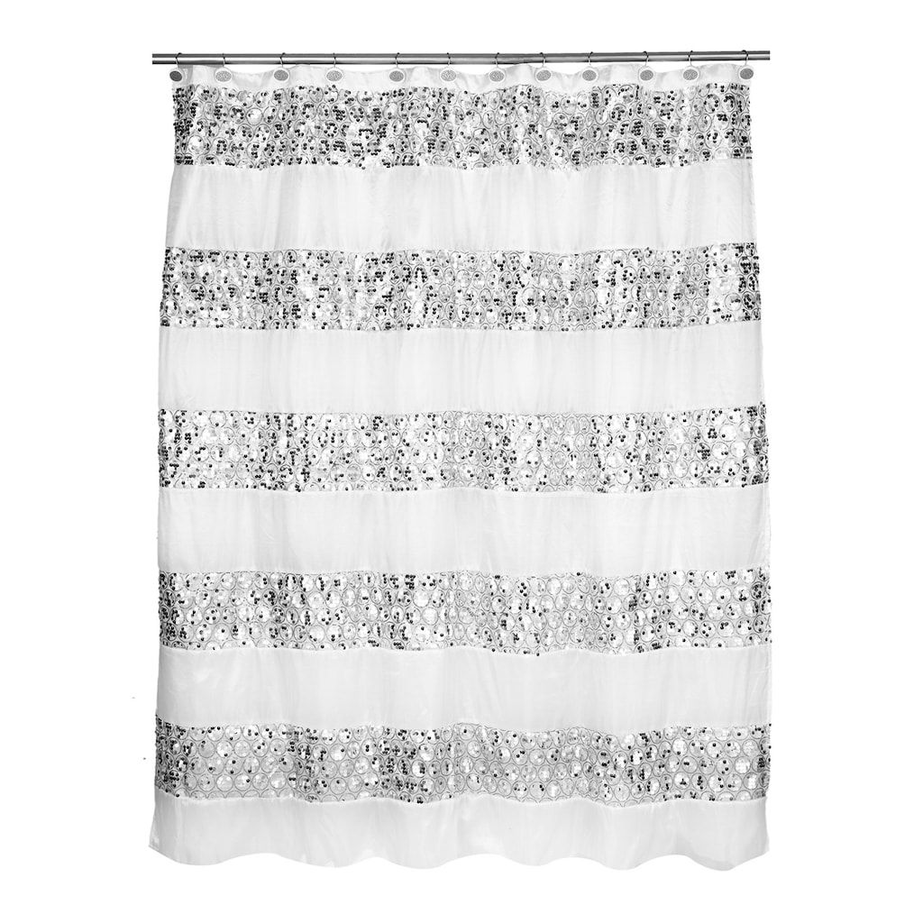 Sinatra Bathroom Accessories Collection Sequin Shower Curtain