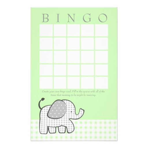 Gingham Elephant Spring Green Bingo Card Stationery Paper