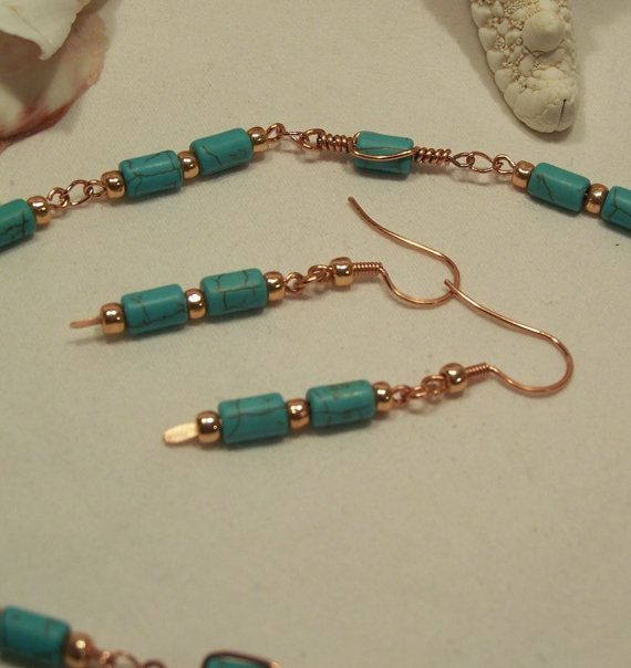 Turquoise and Copper Earrings by SteampunkWise on Etsy, $7.00