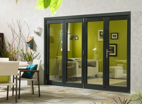 Ultra External Sliding Folding Doors 3m 10ft Double Glazed In Grey Aluminium And Oak Oak Bifold Doors Folding Doors Exterior Bifold Doors