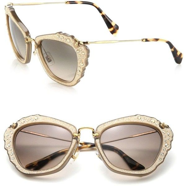 4ad047bdba4e Miu Miu Embellished 55MM Cat s-Eye Sunglasses (36.910 RUB) ❤ liked on  Polyvore