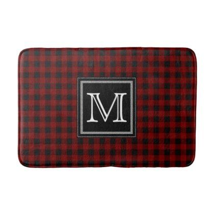 #monogram - #Rustic Red | Black Buffalo Check Plaid  Monogram Bathroom Mat