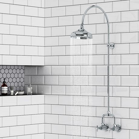 Keswick Traditional Exposed Manual Mixer Shower with Arching Shower Riser Kit | Victorian Plumbing UK