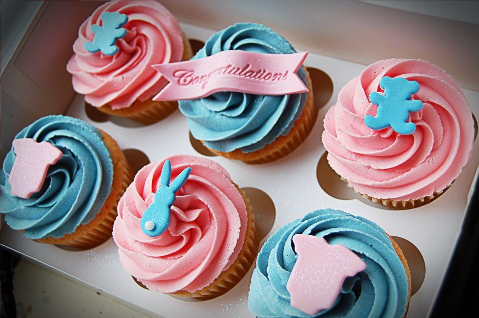 Little Paper Cakes New Baby Pink And Blue Cupcakes Food Blue
